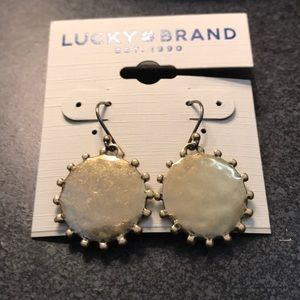 NWT Lucky Brand gold medallion drop earrings